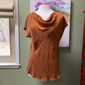 Anthropologie silk top, cowl neck, copper color